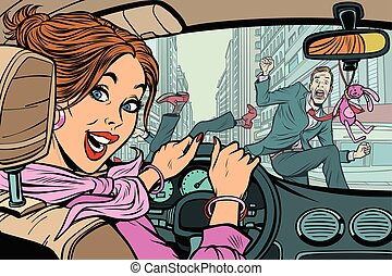 Joyful woman driver, accident on road with pedestrian. Comic cartoon pop art retro vector illustration drawing