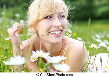 Joyful woman enjoying summer