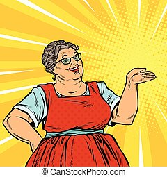 Joyful woman grandma promoter, pop art retro vector...