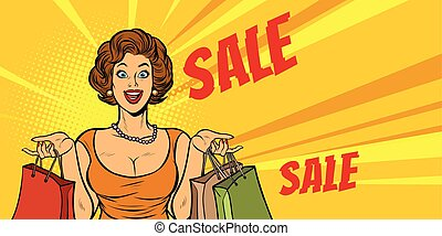 joyful woman shopping on sale