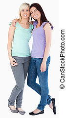 Joyful women posing