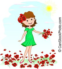 Joyful young girl with red poppies flowers