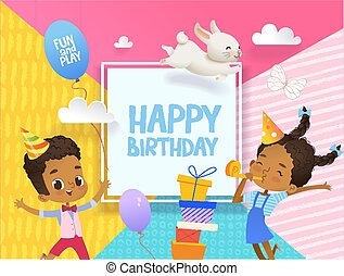 Joyous African-American Boy and girl in birthday hats happily jump. Vector Illustration of a Happy Birthday Greeting Card with balloons, cute rabbits, a bunch of presents on the background.