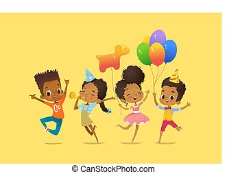 Joyous African-American boys and girls with the balloons and birthday hats happily jumping with their hands up. Birthday party Vector illustration for website banner, poster, flyer, invitation.