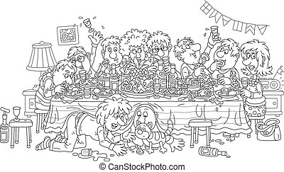 Noisy holiday with merry, noisy and slightly drunk visitors at festive tableful of various drinks and tasty food, black and white outline vector cartoon illustration for a coloring book page
