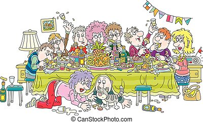 Noisy holiday with merry, noisy and slightly drunk visitors at festive tableful of various drinks and tasty food, vector cartoon illustration isolated on a white background