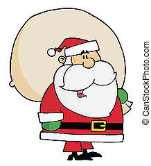Kris Kringle Carrying A Toy Sack - Joyous Kris Kringle...