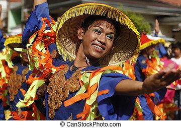Joyous Street Dancer - Street Dancers of Mardigras along...