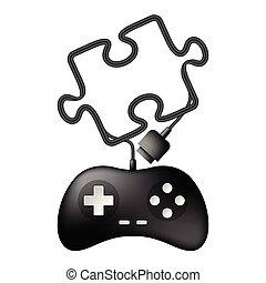 joypad, copie, câble, gamepad, espace, couleur, puzzle, puzzle, isolé, illustration, forme, fond, noir, conception, blanc, fait, ou