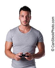 joypad, junger, videogames, gebrauchend, steuerknüppel, mann...