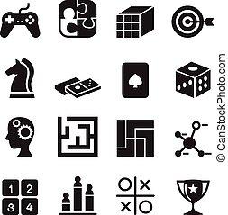 joypad, satz, heiligenbilder, spielwürfel, stichsaege, , abbildung, puzzel, spiel, vektor, labyrinth