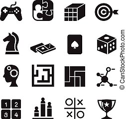 joypad, set, icone, dado, jigsaw, , illustrazione, puzzle, gioco, vettore, labirinto