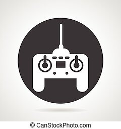 Joystick black round vector icon