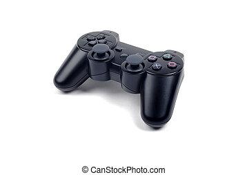 joystick, controller, by, idræt, isoleret, på hvide, baggrund, hos, shadow.