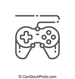 Joystick, gamepad, gaming device line icon.