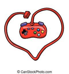 joystick heart. joystick cartoon. game cartoon