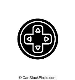 joystick round icon, vector illustration, black sign on isolated background