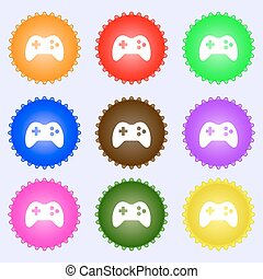 Joystick sign icon. Video game symbol. A set of nine different colored labels. Vector
