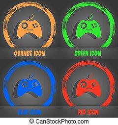 Joystick sign icon. Video game symbol. Fashionable modern style. In the orange, green, blue, red design. Vector