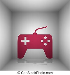 Joystick simple sign. Bordo icon with shadow in the room.
