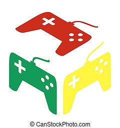 Joystick simple sign. Isometric style of red, green and yellow icon.