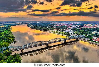 Jozef Pilsudski Bridge across the Vistula River in Torun, Poland