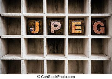 JPEG Concept Wooden Letterpress Type in Drawer