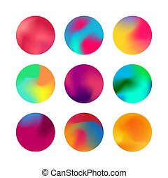 Jpeg Round colorful gradient set. Rounded holographic gradient sphere button Collection. Vivid color spheres flat set