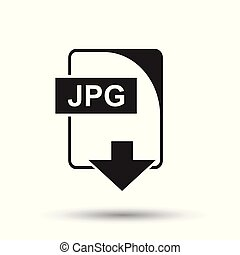 JPG icon. Flat vector illustration. JPG download sign symbol with shadow on white background.