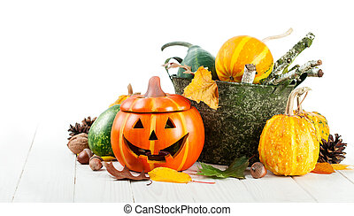 jpg2015102521264471099 Holiday Halloween autumn decoration with jack-o-lantern pumpkins