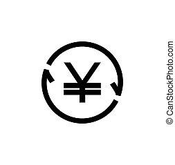 JPY / CNY Symbol circled by arrow, Money flow, Exchange, ...