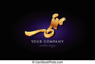 jr  j r 3d gold golden alphabet letter metal logo icon design handwritten typography