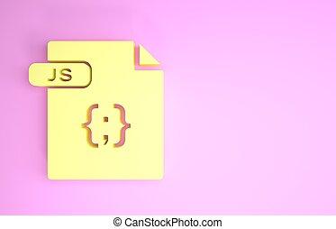 js, pictogram, document., symbool., render, vrijstaand, minimalism, bestand, downloaden, gele, knoop, illustratie, concept., achtergrond., roze, 3d