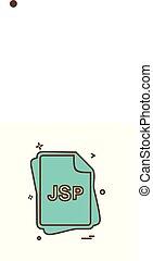 jsp, bestand, type, pictogram, ontwerp, vector
