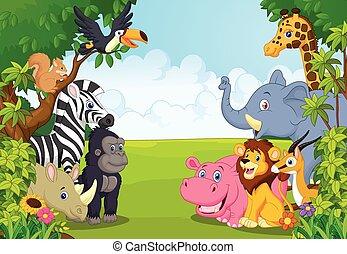 ju, dyr, samling, cartoon