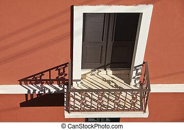 juan, balkong, san, vägg, röd