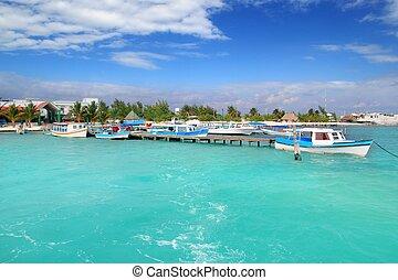 juarez, roo, quintana, cancun, tropicais, barcos, puerto
