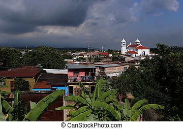 juayua, el salvador, -, un, típico, centroamericano, aldea, en, juayua, el salvador