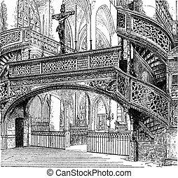 Jube, church of Saint-Etienne-du-Mont, Paris, France, vintage engraving.