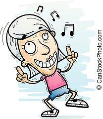 jubilado, caricatura, bailando