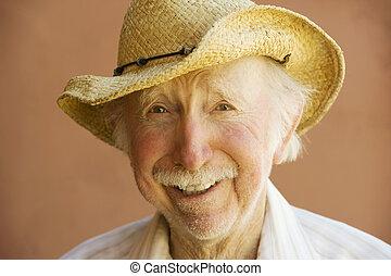 jubilado, hombre, en, un, sombrero vaquero