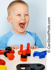 Jubilant children with toys