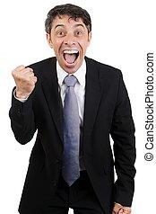 Jubilant man cheering