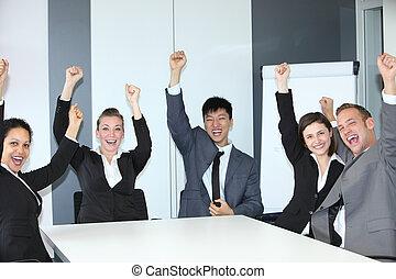 Jubilant successful business team of motivated multiethnic...