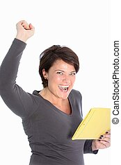 Jubilant woman rejoicing news in a letter