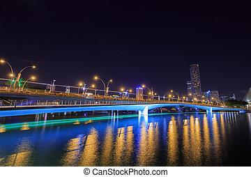 Jubilee Bridge of Singapore at night - Jubilee Bridge of...