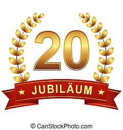 Jubilee button with banner 20 years