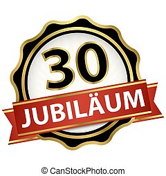 Jubilee button with banner 30 years
