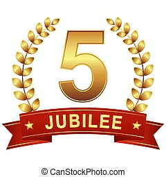 Jubilee button with banner 5 years