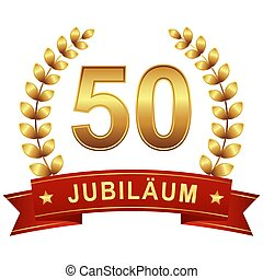 Jubilee button with banner 50 years - Jubilee button with...